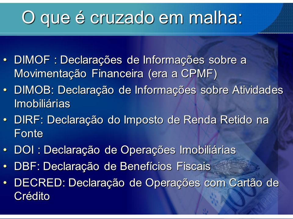 O que é cruzado em malha: DIMOF : Declarações de Informações sobre a Movimentação Financeira (era a CPMF)DIMOF : Declarações de Informações sobre a Mo
