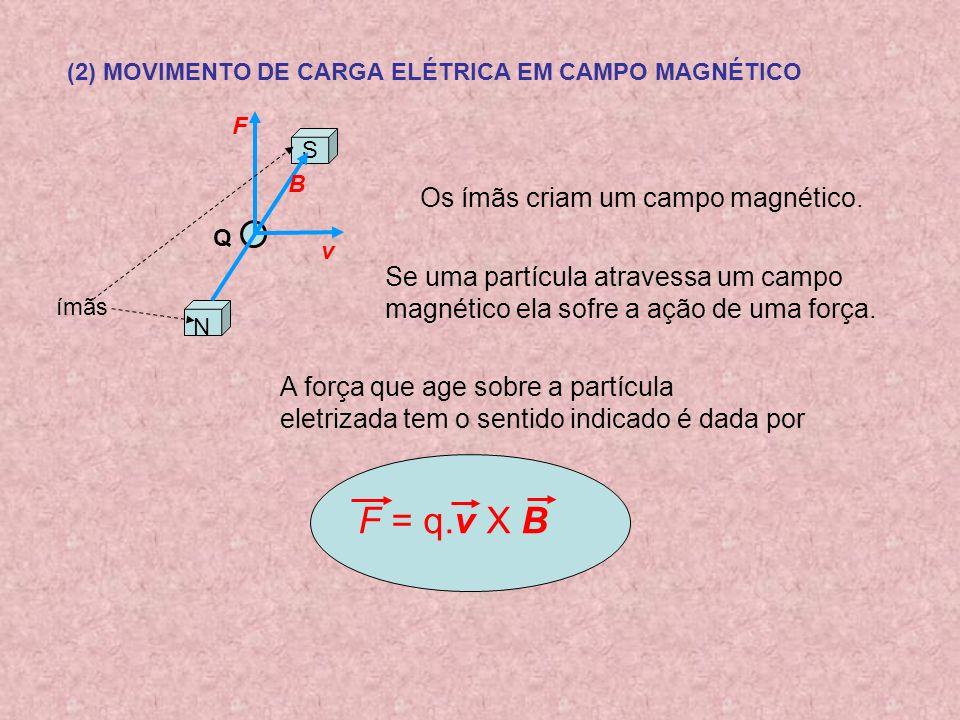 (2) MOVIMENTO DE CARGA ELÉTRICA EM CAMPO MAGNÉTICO S N Q v B A força que age sobre a partícula eletrizada tem o sentido indicado é dada por F = q.v X B F Se uma partícula atravessa um campo magnético ela sofre a ação de uma força.