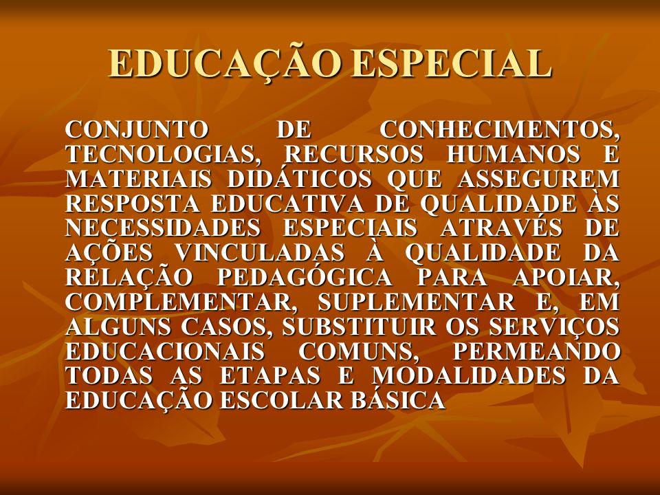 EDUCAÇÃO ESPECIAL CONJUNTO DE CONHECIMENTOS, TECNOLOGIAS, RECURSOS HUMANOS E MATERIAIS DIDÁTICOS QUE ASSEGUREM RESPOSTA EDUCATIVA DE QUALIDADE ÀS NECE