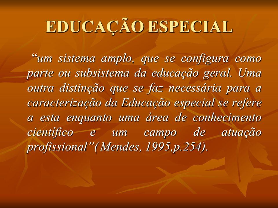 EDUCAÇÃO ESPECIAL um sistema amplo, que se configura como parte ou subsistema da educação geral. Uma outra distinção que se faz necessária para a cara