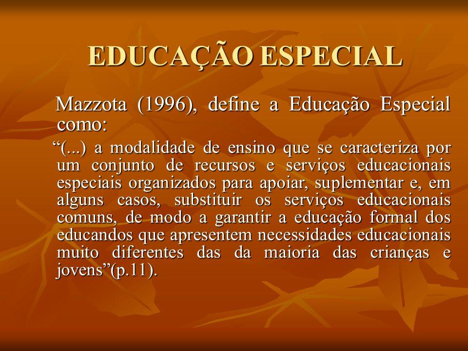 EDUCAÇÃO ESPECIAL Mazzota (1996), define a Educação Especial como: Mazzota (1996), define a Educação Especial como: (...) a modalidade de ensino que s
