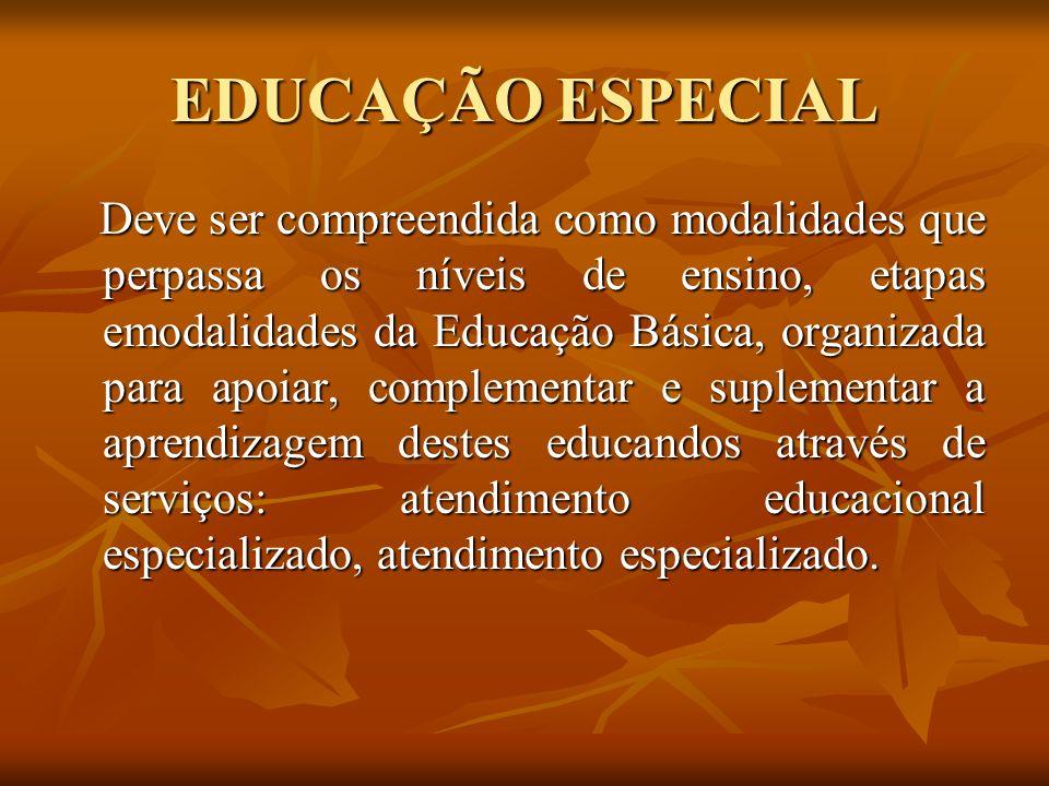 EDUCAÇÃO ESPECIAL Deve ser compreendida como modalidades que perpassa os níveis de ensino, etapas emodalidades da Educação Básica, organizada para apo