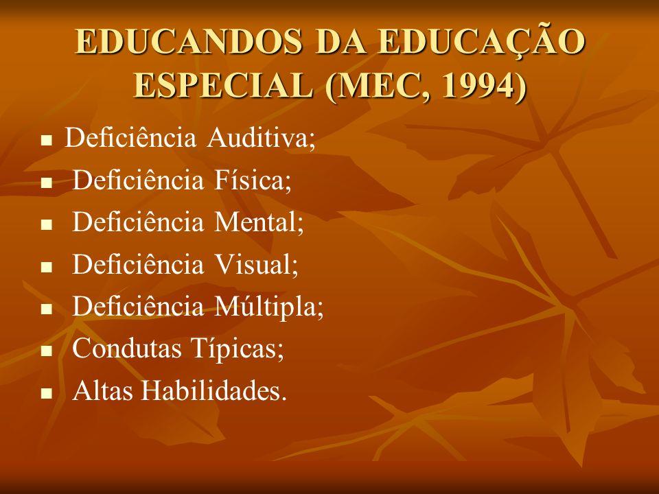 EDUCANDOS DA EDUCAÇÃO ESPECIAL (MEC, 1994) Deficiência Auditiva; Deficiência Física; Deficiência Mental; Deficiência Visual; Deficiência Múltipla; Con