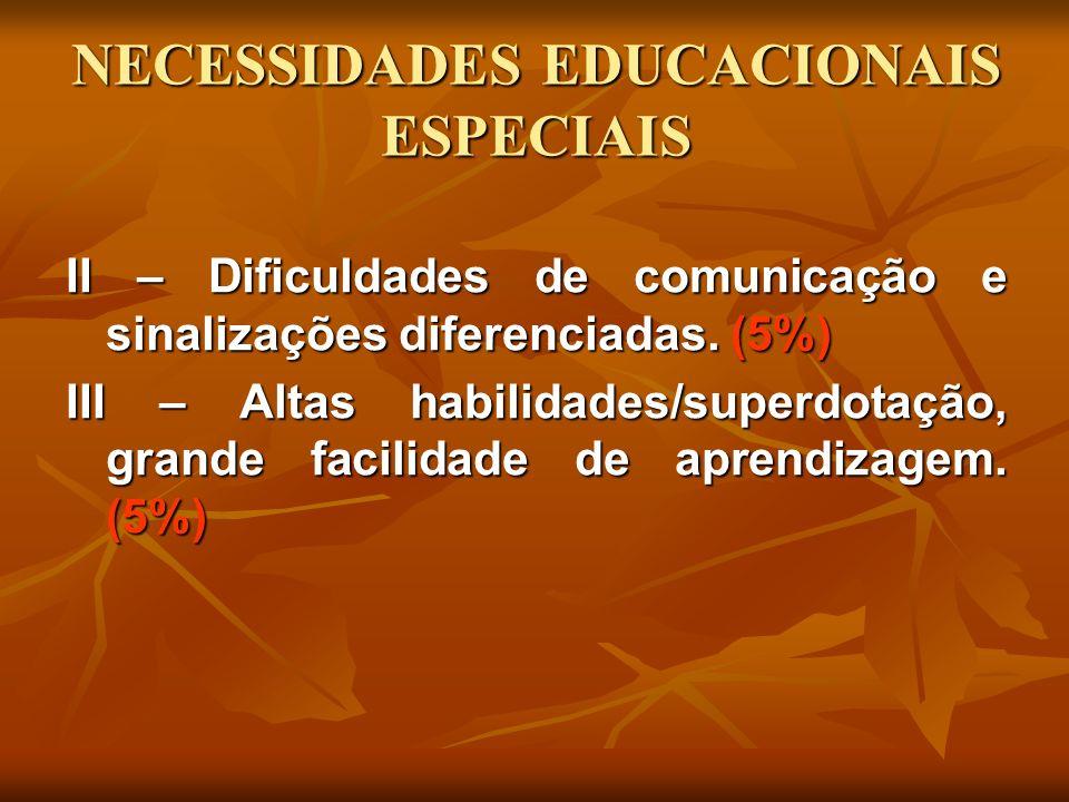 NECESSIDADES EDUCACIONAIS ESPECIAIS II – Dificuldades de comunicação e sinalizações diferenciadas. (5%) III – Altas habilidades/superdotação, grande f