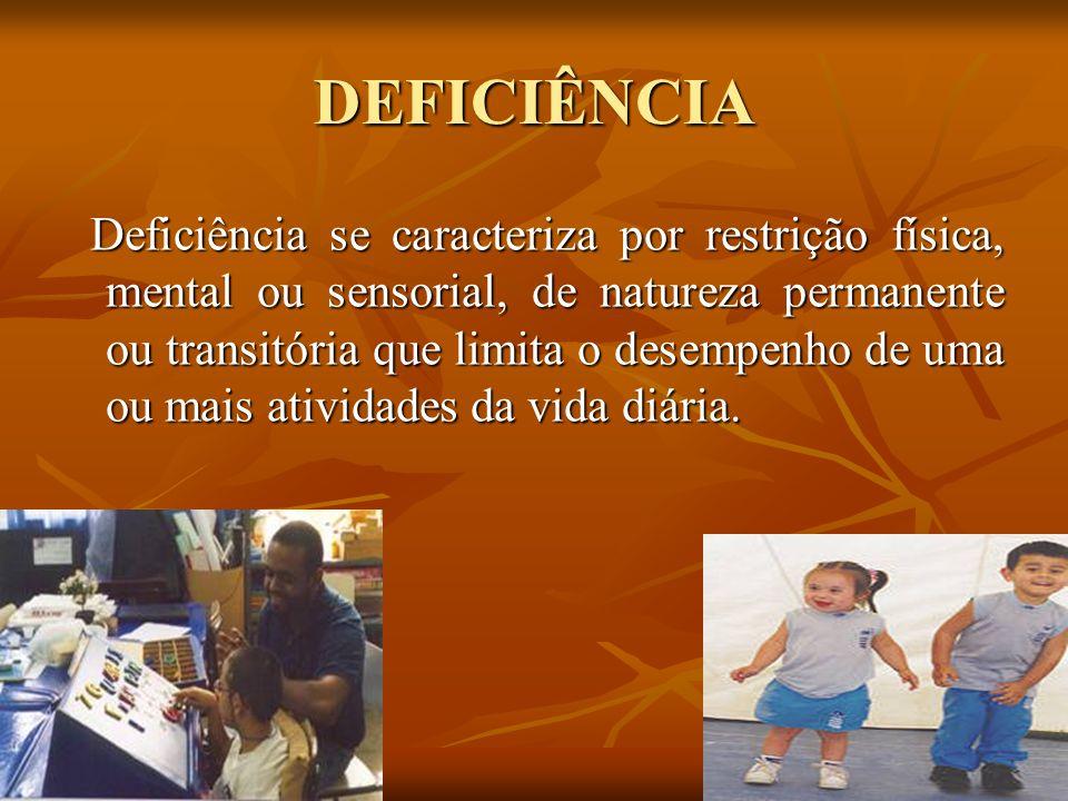 DEFICIÊNCIA Deficiência se caracteriza por restrição física, mental ou sensorial, de natureza permanente ou transitória que limita o desempenho de uma