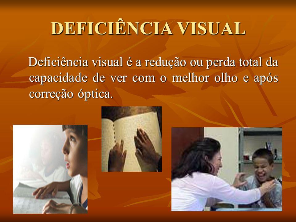 DEFICIÊNCIA VISUAL Deficiência visual é a redução ou perda total da capacidade de ver com o melhor olho e após correção óptica. Deficiência visual é a