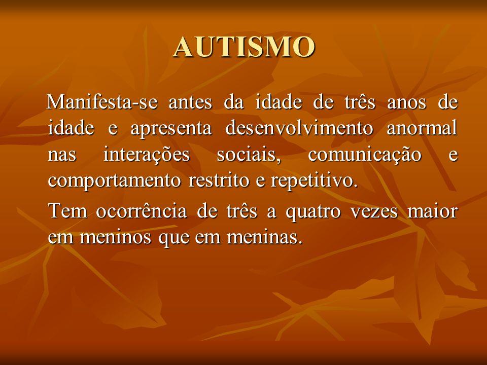 AUTISMO Manifesta-se antes da idade de três anos de idade e apresenta desenvolvimento anormal nas interações sociais, comunicação e comportamento rest