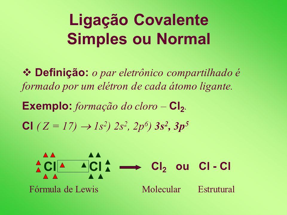 LIGAÇÃO COVALENTE OU MOLECULAR Definição: Ocorre através do compartilhamento de um par de elétrons entre átomos que possuem pequena ou nenhuma diferen