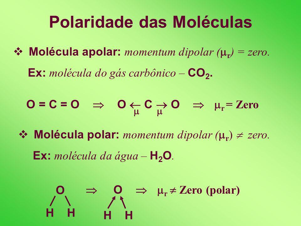 POLARIDADE DAS MOLÉCULAS Definição: acúmulo de cargas elétricas em regiões distintas da molécula, sua força depende da polaridade das ligações e da ge
