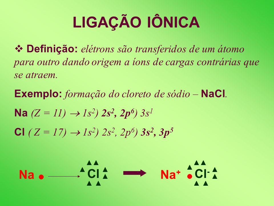 LIGAÇÃO IÔNICA Definição: elétrons são transferidos de um átomo para outro dando origem a íons de cargas contrárias que se atraem.