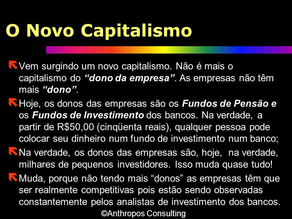 O Novo Capitalismo ë Vem surgindo um novo capitalismo. Não é mais o capitalismo do dono da empresa. As empresas não têm mais dono. ë Hoje, os donos da