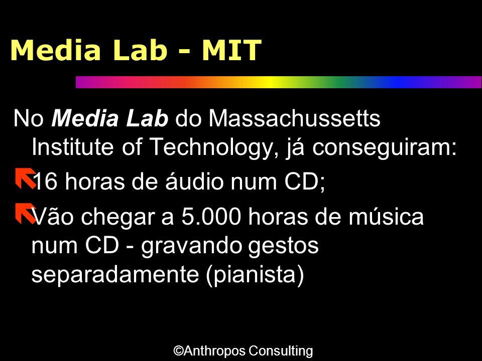 Media Lab - MIT No Media Lab do Massachussetts Institute of Technology, já conseguiram: ë 16 horas de áudio num CD; ë Vão chegar a 5.000 horas de músi
