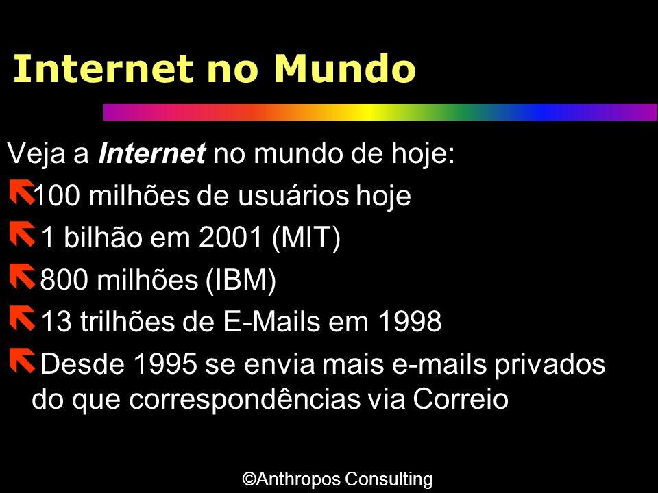 Internet no Mundo Veja a Internet no mundo de hoje: ë 100 milhões de usuários hoje ë 1 bilhão em 2001 (MIT) ë 800 milhões (IBM) ë 13 trilhões de E-Mai