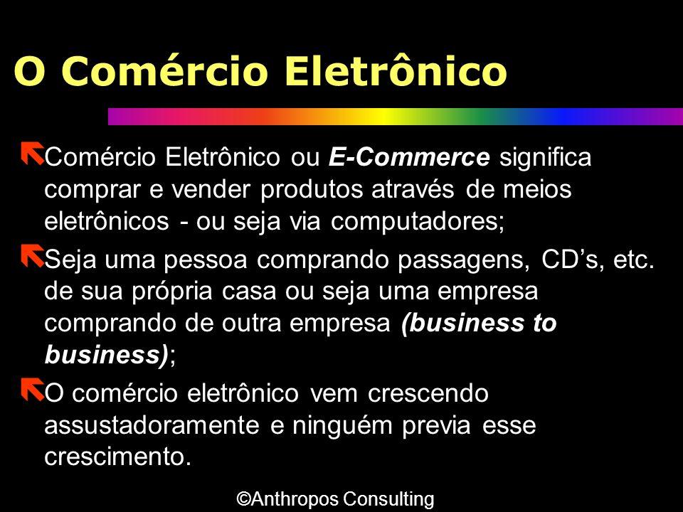 O Comércio Eletrônico ë Comércio Eletrônico ou E-Commerce significa comprar e vender produtos através de meios eletrônicos - ou seja via computadores;