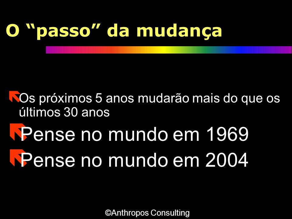 O passo da mudança ë Os próximos 5 anos mudarão mais do que os últimos 30 anos ë Pense no mundo em 1969 ë Pense no mundo em 2004 ë Os próximos 5 anos