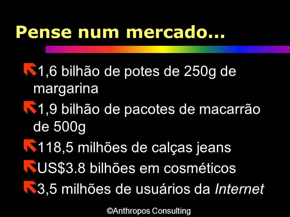 Pense num mercado... ë 1,6 bilhão de potes de 250g de margarina ë 1,9 bilhão de pacotes de macarrão de 500g ë 118,5 milhões de calças jeans ë US$3.8 b