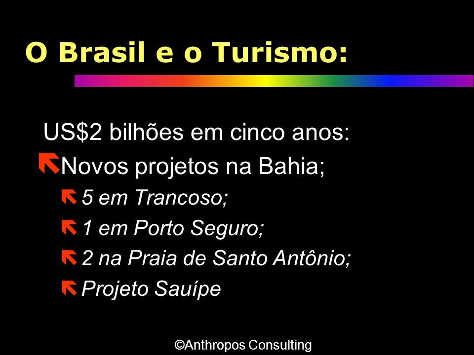 O Brasil e o Turismo: US$2 bilhões em cinco anos: ë Novos projetos na Bahia; ë 5 em Trancoso; ë 1 em Porto Seguro; ë 2 na Praia de Santo Antônio; ë Pr
