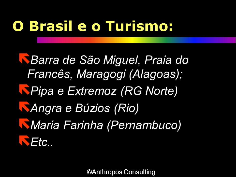 O Brasil e o Turismo: ë Barra de São Miguel, Praia do Francês, Maragogi (Alagoas); ë Pipa e Extremoz (RG Norte) ë Angra e Búzios (Rio) ë Maria Farinha