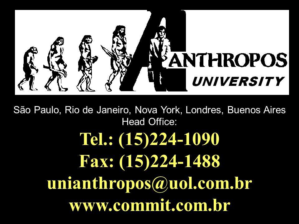 São Paulo, Rio de Janeiro, Nova York, Londres, Buenos Aires Head Office: Tel.: (15)224-1090 Fax: (15)224-1488 unianthropos@uol.com.br www.commit.com.b