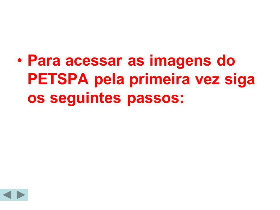 Para acessar as imagens do PETSPA pela primeira vez siga os seguintes passos: