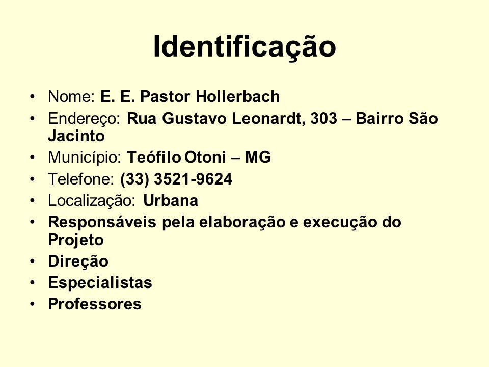 Identificação Nome: E. E. Pastor Hollerbach Endereço: Rua Gustavo Leonardt, 303 – Bairro São Jacinto Município: Teófilo Otoni – MG Telefone: (33) 3521