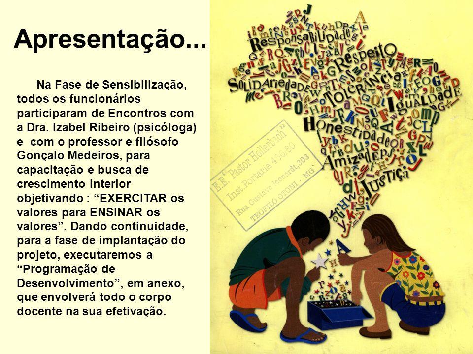Na Fase de Sensibilização, todos os funcionários participaram de Encontros com a Dra. Izabel Ribeiro (psicóloga) e com o professor e filósofo Gonçalo