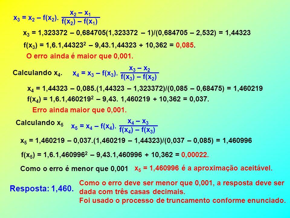 USANDO O APLICATIVO CORRESPONDENTE Intervalo estabelecido no gráfico Função digitada: = 1,6.C8^2 – 9,43*C8 + 10,362 ERRO DIGITADO Célula F8 copiada para G8 e H8.