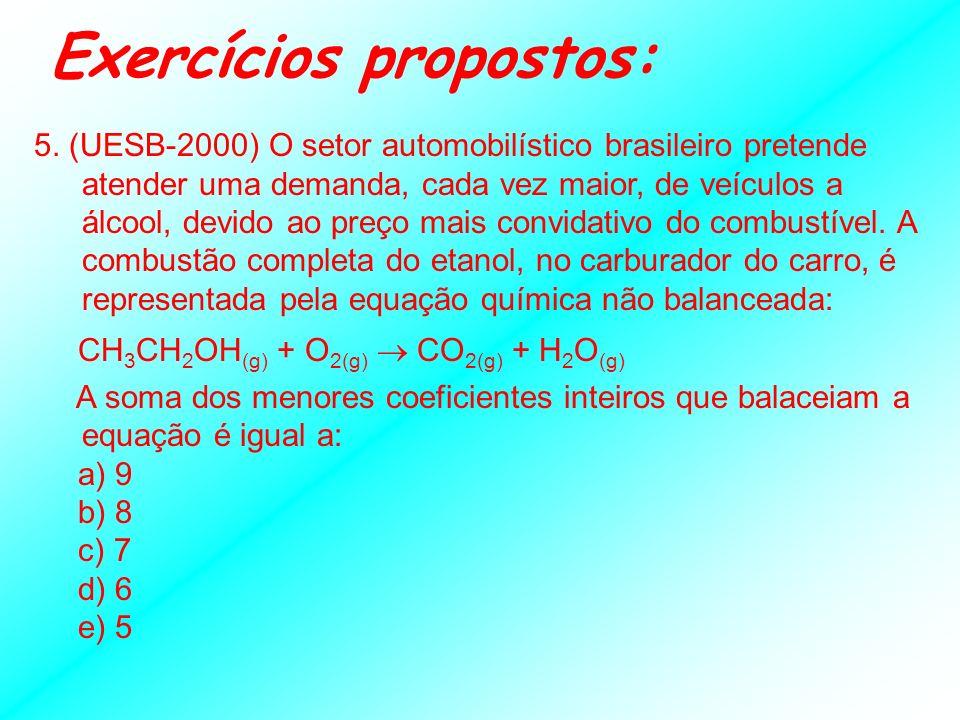 3. (UFBA) Após equilibrar a equação a seguir, indique a proposição ou proposições verdadeiras: I - (aq) + H 2 SO 4(aq) + H (aq) + NO 3 - (aq) I 2(g) +