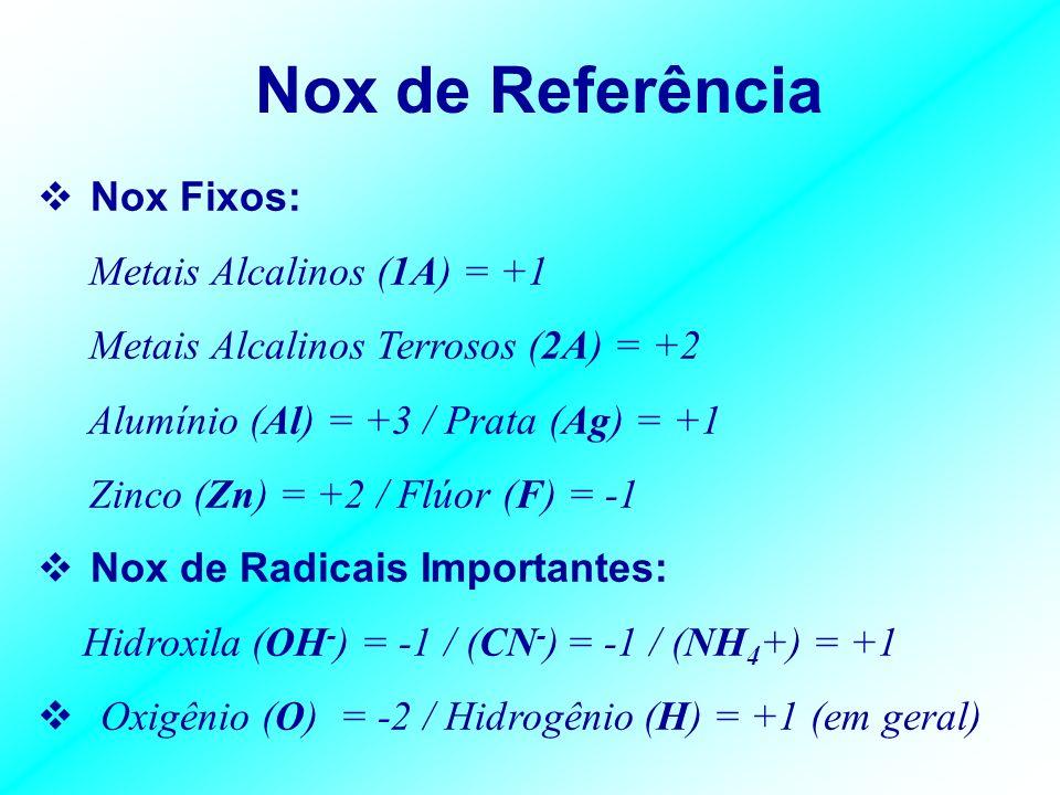 Nox Médio Determinação do Nox pela Fórmula Molecular: Nesse caso o cálculo realizado se refere ao Nox Médio. Regras Gerais: 1)Substâncias simples Nox