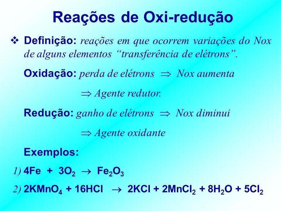 REAÇÕES QUÍMICAS Definição: processos de transformações químicas que sofrem as substâncias. Exemplo: 2H 2 + O 2 2H 2 O 2 H – H + O = O 2 O – H H Compo