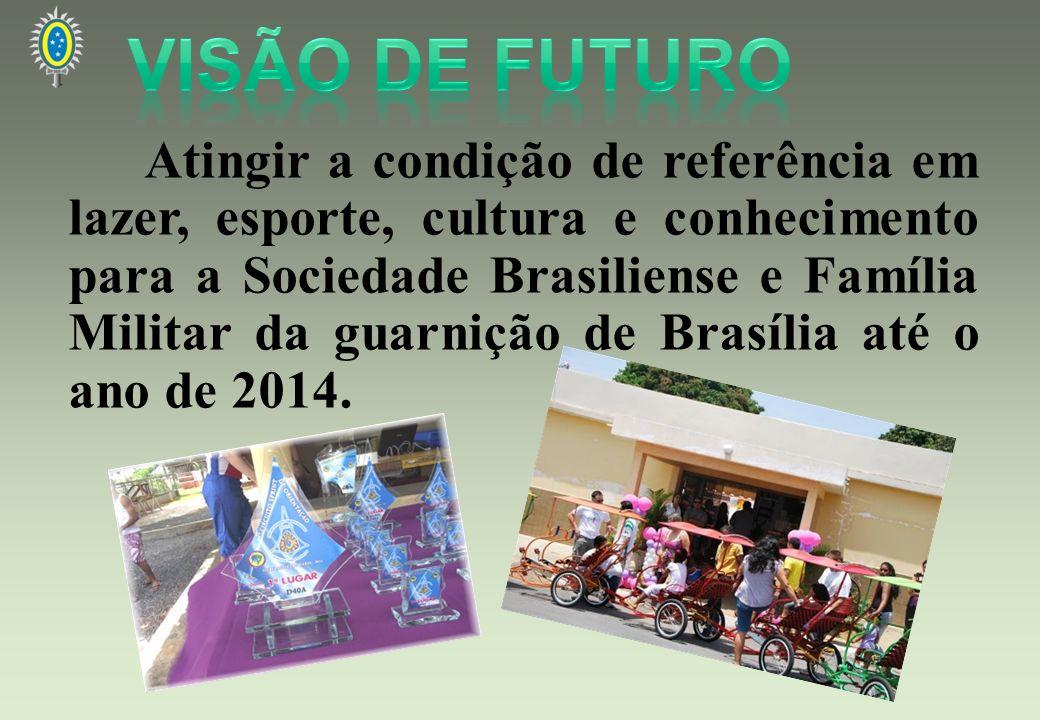 Atingir a condição de referência em lazer, esporte, cultura e conhecimento para a Sociedade Brasiliense e Família Militar da guarnição de Brasília até