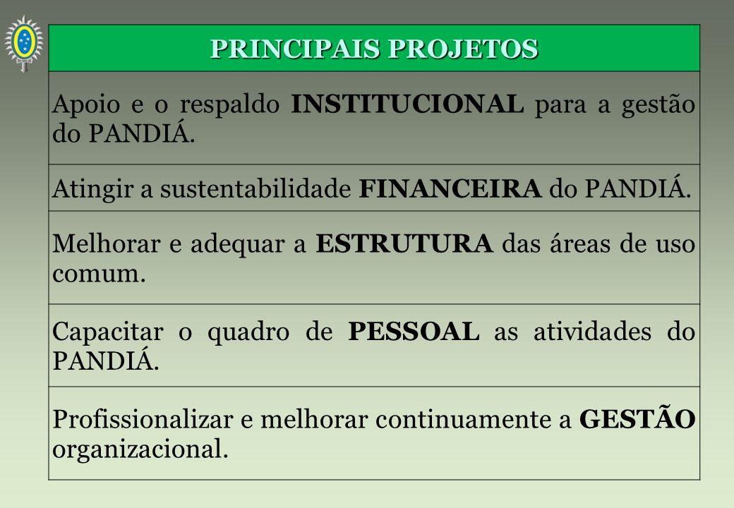 PRINCIPAIS PROJETOS Apoio e o respaldo INSTITUCIONAL para a gestão do PANDIÁ. Atingir a sustentabilidade FINANCEIRA do PANDIÁ. Melhorar e adequar a ES