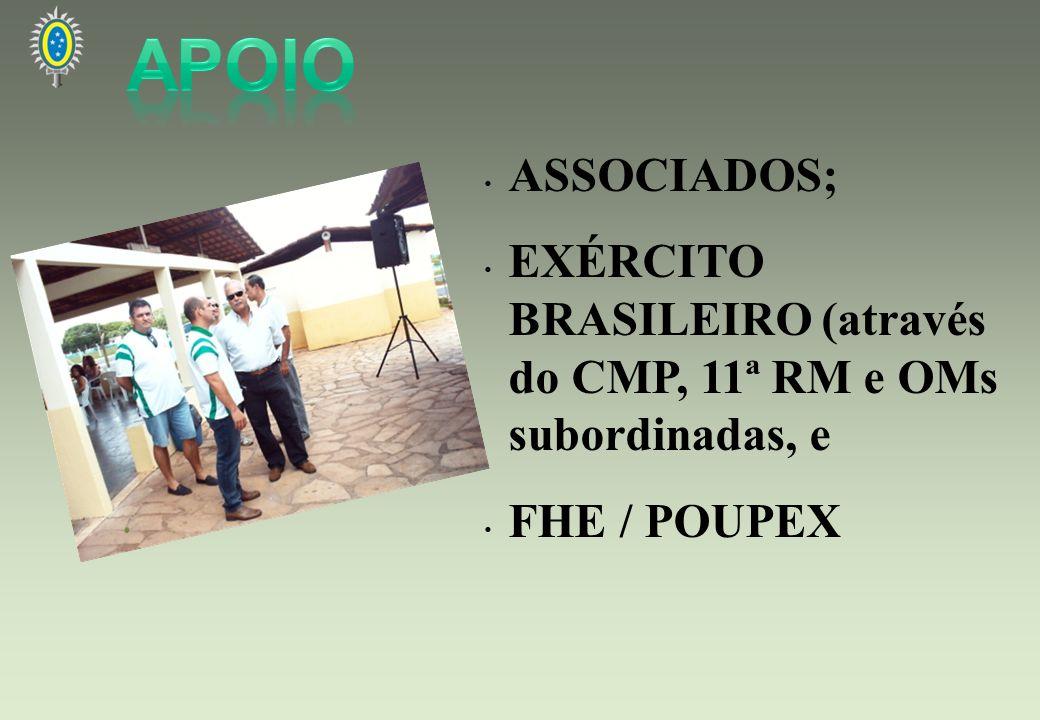 ASSOCIADOS; EXÉRCITO BRASILEIRO (através do CMP, 11ª RM e OMs subordinadas, e FHE / POUPEX