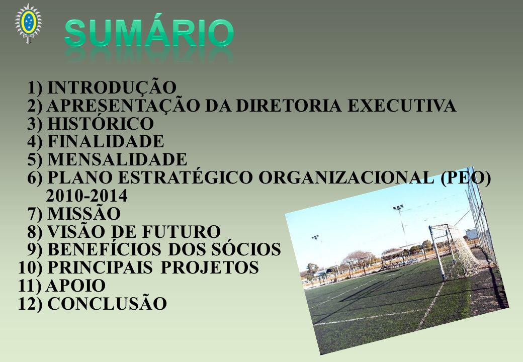 1) INTRODUÇÃO 2) APRESENTAÇÃO DA DIRETORIA EXECUTIVA 3) HISTÓRICO 4) FINALIDADE 5) MENSALIDADE 6) PLANO ESTRATÉGICO ORGANIZACIONAL (PEO) 2010-2014 7)
