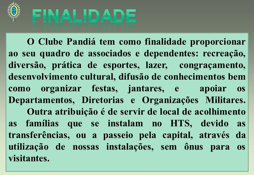 O Clube Pandiá tem como finalidade proporcionar ao seu quadro de associados e dependentes: recreação, diversão, prática de esportes, lazer, congraçame