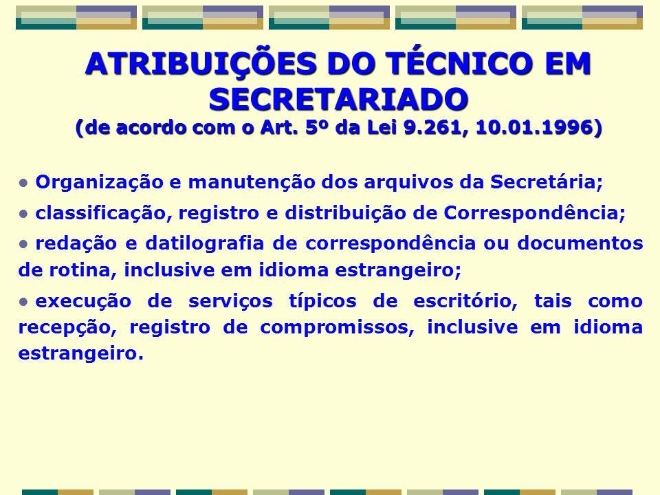 ATRIBUIÇÕES DO TÉCNICO EM SECRETARIADO (de acordo com o Art. 5º da Lei 9.261, 10.01.1996) Organização e manutenção dos arquivos da Secretária; classif