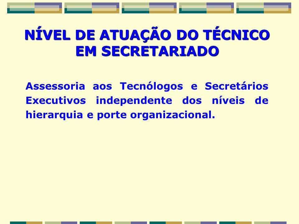 NÍVEL DE ATUAÇÃO DO TÉCNICO EM SECRETARIADO Assessoria aos Tecnólogos e Secretários Executivos independente dos níveis de hierarquia e porte organizac
