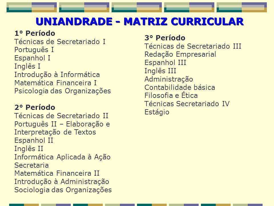 UNIANDRADE - MATRIZ CURRICULAR 1° Período Técnicas de Secretariado I Português I Espanhol I Inglês I Introdução à Informática Matemática Financeira I