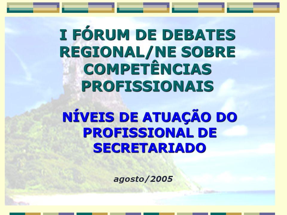 NÍVEIS DE ATUAÇÃO DO PROFISSIONAL DE SECRETARIADO agosto/2005 I FÓRUM DE DEBATES REGIONAL/NE SOBRE COMPETÊNCIAS PROFISSIONAIS