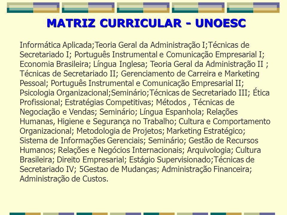 MATRIZ CURRICULAR - UNOESC Informática Aplicada;Teoria Geral da Administração I;Técnicas de Secretariado I; Português Instrumental e Comunicação Empre