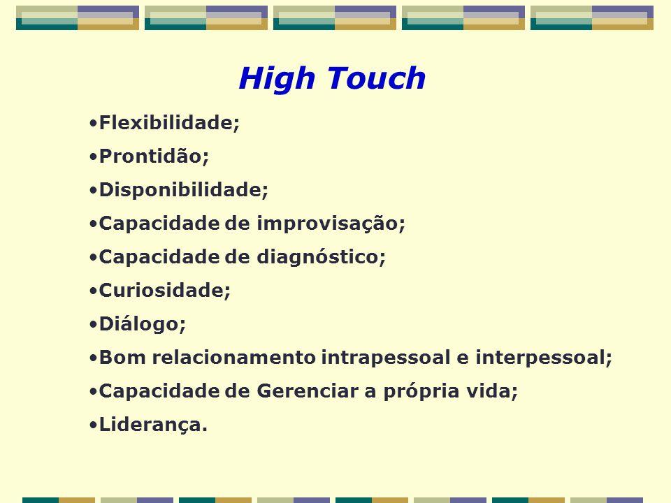 High Touch Flexibilidade; Prontidão; Disponibilidade; Capacidade de improvisação; Capacidade de diagnóstico; Curiosidade; Diálogo; Bom relacionamento