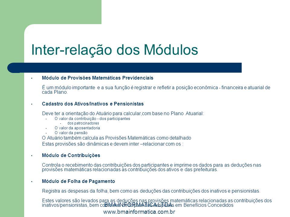 BMA INFORMATICA LTDA. www.bmainformatica.com.br Inter-relação dos Módulos Módulo de Provisões Matemáticas Previdenciais É um módulo importante e a sua