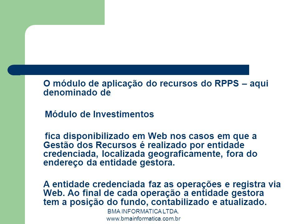 BMA INFORMATICA LTDA. www.bmainformatica.com.br O módulo de aplicação do recursos do RPPS – aqui denominado de Módulo de Investimentos fica disponibil