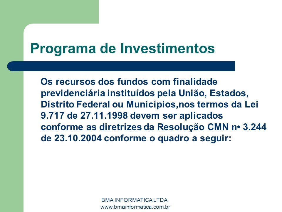 BMA INFORMATICA LTDA. www.bmainformatica.com.br Programa de Investimentos Os recursos dos fundos com finalidade previdenciária instituídos pela União,