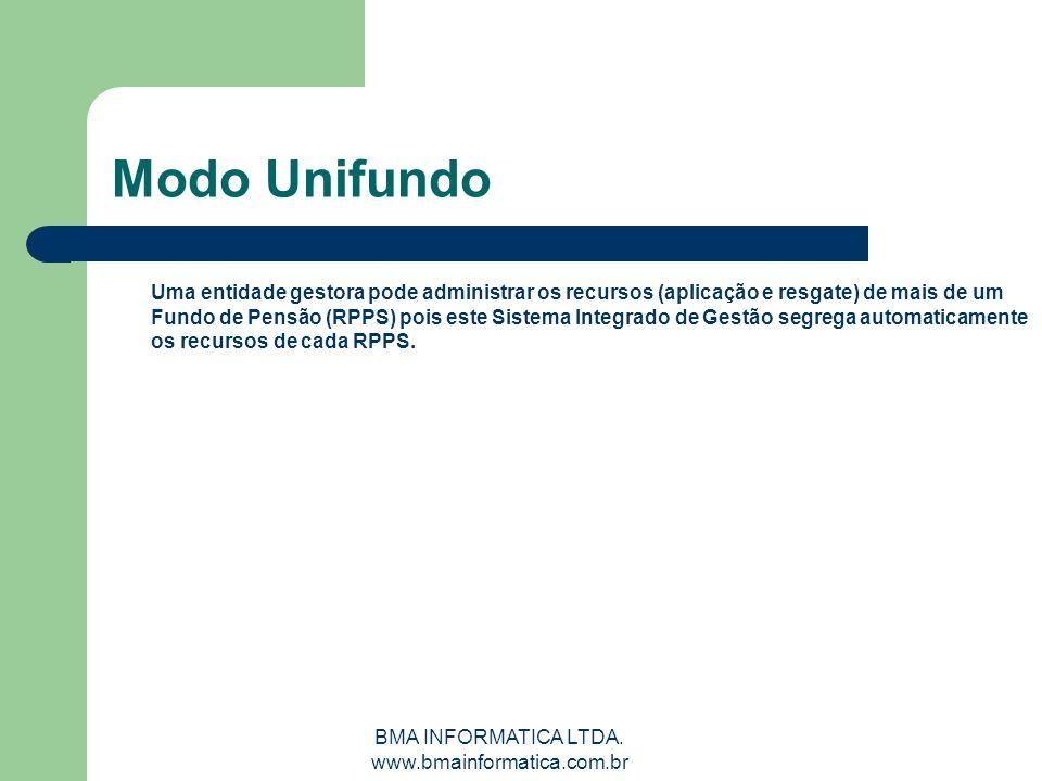 BMA INFORMATICA LTDA. www.bmainformatica.com.br Modo Unifundo Uma entidade gestora pode administrar os recursos (aplicação e resgate) de mais de um Fu