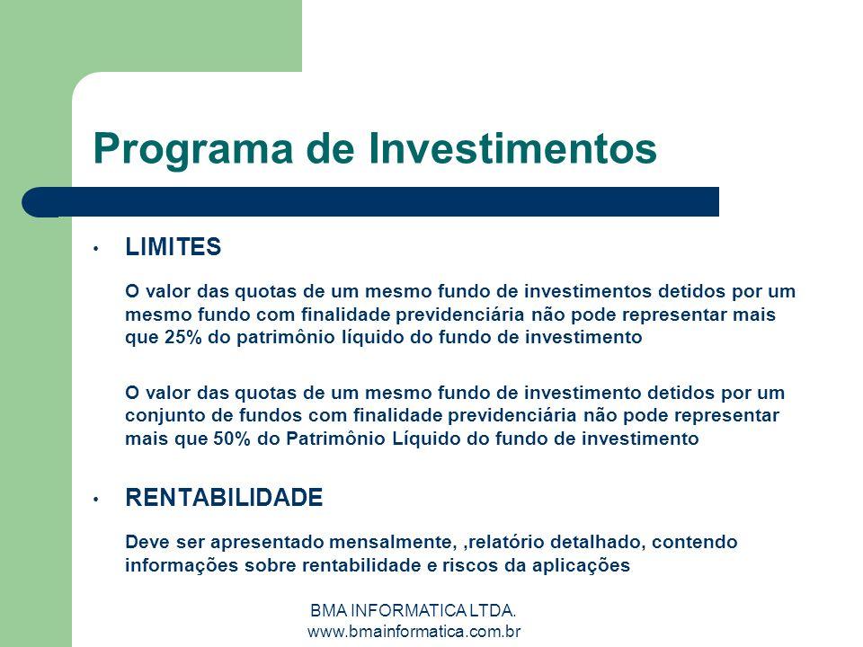 BMA INFORMATICA LTDA. www.bmainformatica.com.br Programa de Investimentos LIMITES O valor das quotas de um mesmo fundo de investimentos detidos por um