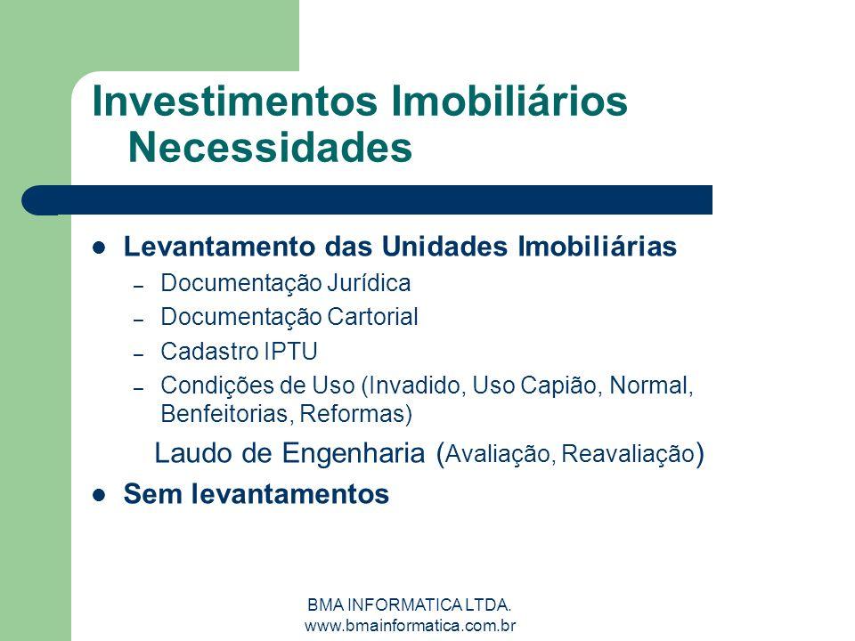 BMA INFORMATICA LTDA. www.bmainformatica.com.br Investimentos Imobiliários Necessidades Levantamento das Unidades Imobiliárias – Documentação Jurídica