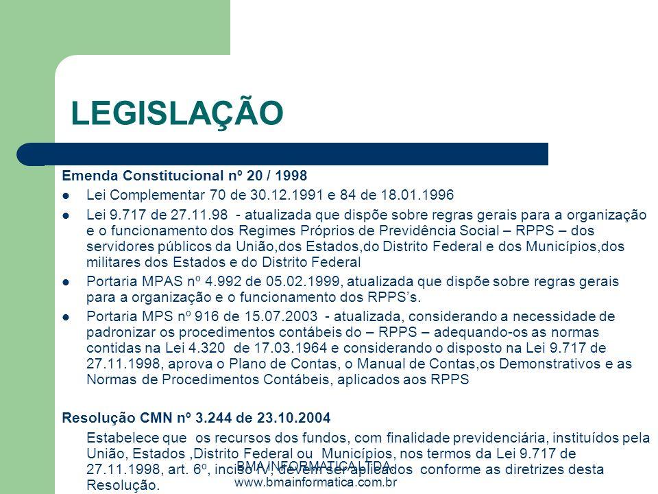 BMA INFORMATICA LTDA. www.bmainformatica.com.br LEGISLAÇÃO Emenda Constitucional nº 20 / 1998 Lei Complementar 70 de 30.12.1991 e 84 de 18.01.1996 Lei