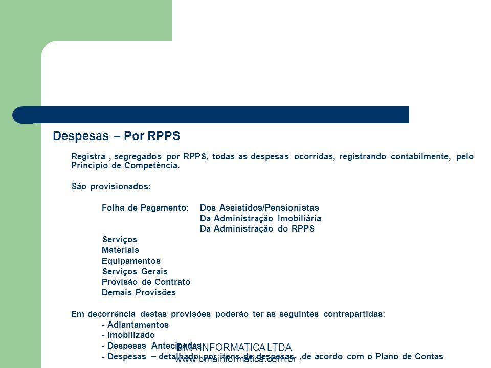 BMA INFORMATICA LTDA. www.bmainformatica.com.br Despesas – Por RPPS Registra, segregados por RPPS, todas as despesas ocorridas, registrando contabilme