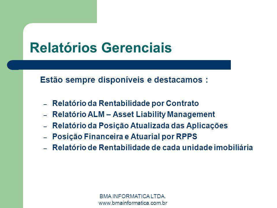 BMA INFORMATICA LTDA. www.bmainformatica.com.br Relatórios Gerenciais Estão sempre disponíveis e destacamos : – Relatório da Rentabilidade por Contrat